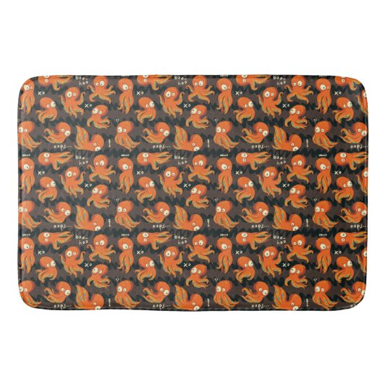 Boo Octopus Orange & Black Kids Clothing & Décor Bath Mat