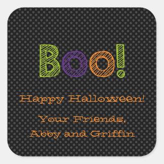 Boo!  Personalized Square Halloween Sticker