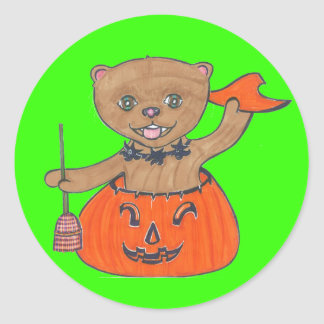 Boo! Pomeranian Pop Up Halloween Classic Round Sticker