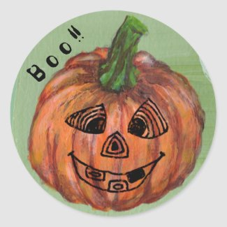 Boo Pumpkin round sticker, envelope sealer Classic Round Sticker