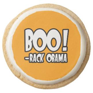 BOO-RACK OBAMA COSTUME - Halloween -.png Round Premium Shortbread Cookie