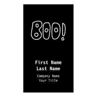BOO! Rounded Jagged White Letters. Business Card Templates