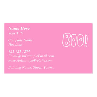BOO! Rounded Jagged White Letters. Business Card Template