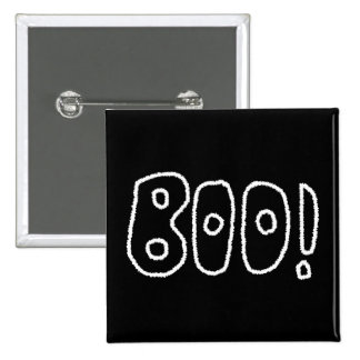 BOO! Rounded Jagged White Letters. Button