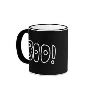 BOO! Rounded Jagged White Letters. Coffee Mugs