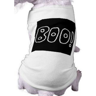 BOO! Rounded Jagged White Letters. Doggie Tee Shirt