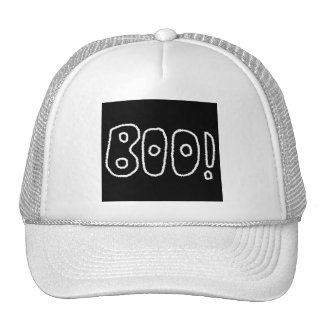 BOO! Rounded Jagged White Letters. Hats