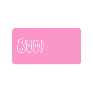 BOO! Rounded Jagged White Letters. Custom Address Label