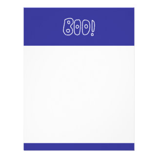 BOO! Rounded Jagged White Letters. Custom Letterhead
