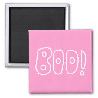 BOO! Rounded Jagged White Letters. Refrigerator Magnets