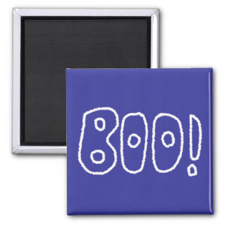 BOO! Rounded Jagged White Letters. Magnets