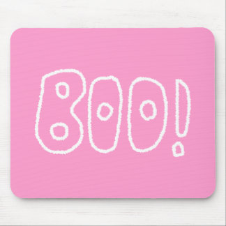 BOO! Rounded Jagged White Letters. Mouse Pad