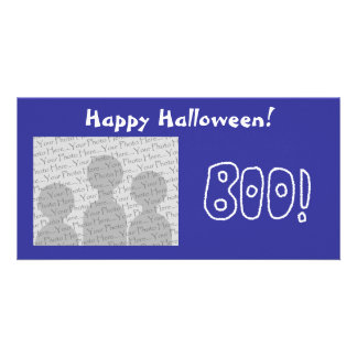 BOO Rounded Jagged White Letters Picture Card