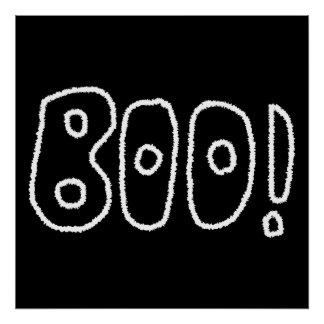 BOO! Rounded Jagged White Letters. Poster