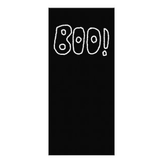 BOO! Rounded Jagged White Letters. Custom Rack Card