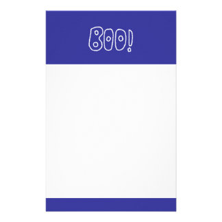 BOO! Rounded Jagged White Letters. Stationery Design