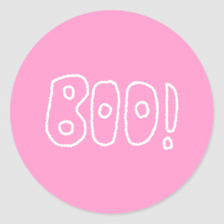 BOO! Rounded Jagged White Letters. Sticker