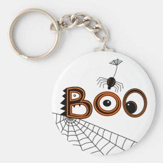 Boo! Spider Halloween (Black & Orange) Basic Round Button Keychain