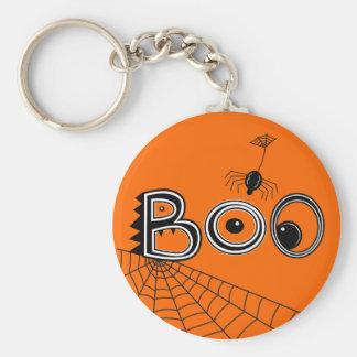 Boo! Spider Halloween (Orange Background) Basic Round Button Keychain