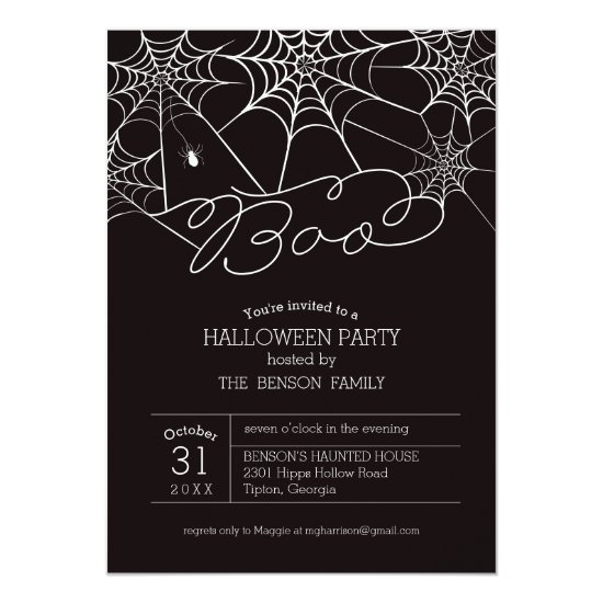 Boo Spider Wed Halloween Party Invitation