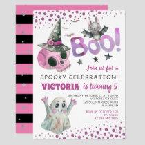 Boo Spooky Pink Skull Girl Halloween Birthday Invitation