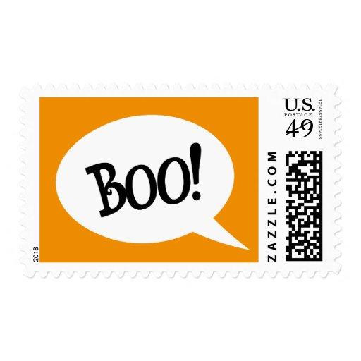 Boo! Spooky speech bubble Halloween postage stamp