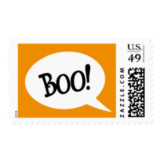 Boo! Spooky speech bubble Halloween postage stamp
