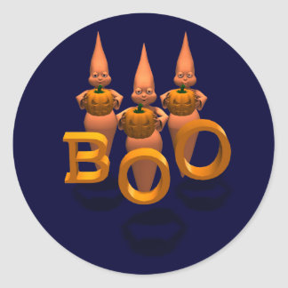 Boo! Three Cute Ghosties Classic Round Sticker
