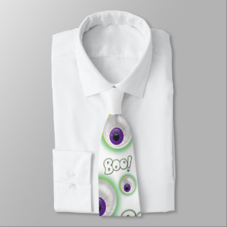 BOO-tilful white Ghostly Halloween Purple Eye Boo Tie