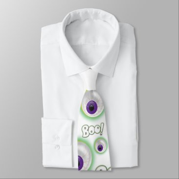 Halloween Themed BOO-tilful white Ghostly Halloween Purple Eye Boo Tie