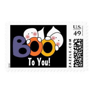 Boo To You Ghost Happy Halloween Postage
