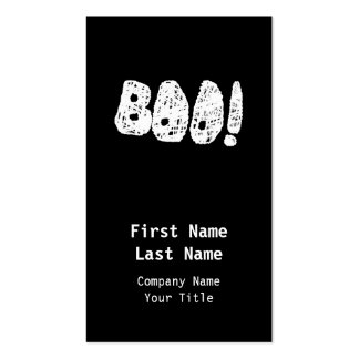 BOO! White and Black Letters. Double-Sided Standard Business Cards (Pack Of 100)