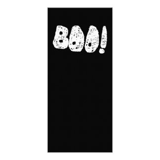 BOO! White and Black Letters. Full Color Rack Card