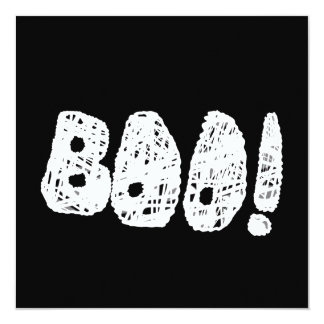 BOO! White and Black Letters. 5.25x5.25 Square Paper Invitation Card