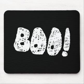 BOO! White and Black Letters. Mouse Pad