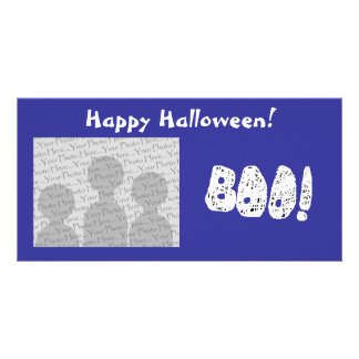 BOO! White and Black Letters. Photo Greeting Card