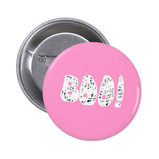 BOO! White and Black Letters. Pinback Button