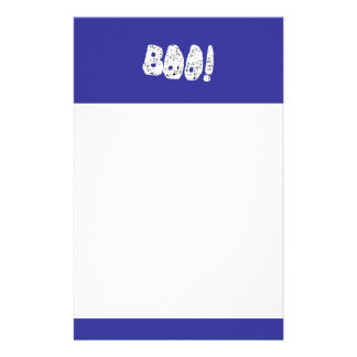 BOO! White and Black Letters. Customized Stationery