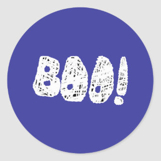 BOO! White and Black Letters. Classic Round Sticker