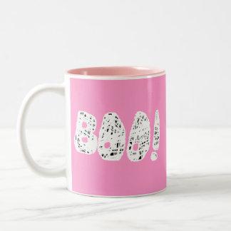 BOO! White and Black Letters. Two-Tone Coffee Mug