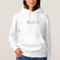 Boo White And Orange Halloween Women's Hoodie