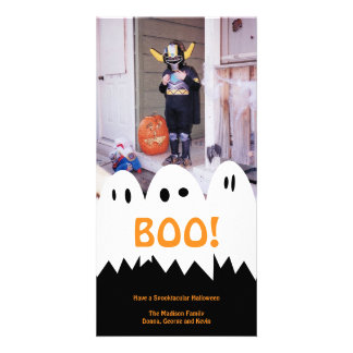 BOO white ghost trio orange Halloween greeting Card