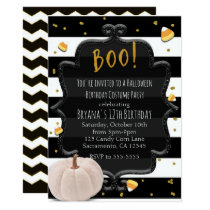 BOO! White Pumpkin & Candy Corn Halloween Party Invitation