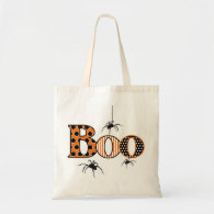 BOO with Spiders Halloween Tote Bag