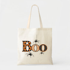 Boo With Spiders Halloween Tote Bag at Zazzle