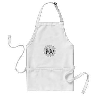 Boo written in spider web adult apron