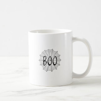 Boo written in spider web coffee mug