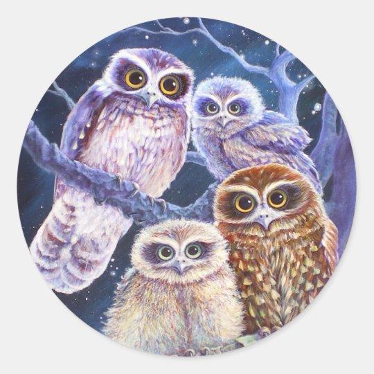 Boobook Owl Family Classic Round Sticker
