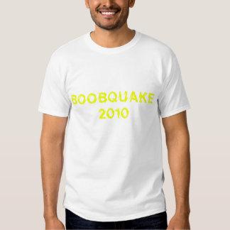BOOBQUAKE 2010 yellow on dark shirt