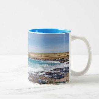 Boobys Bay Beach  England Two-Tone Coffee Mug
